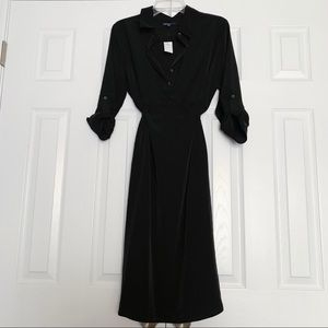 Gap Maternity Black Collared Button-Up Work Dress